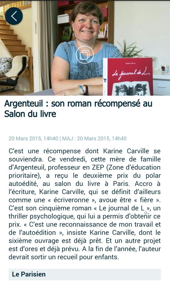 Le Parisien 20 mars 2015 Karine Carville