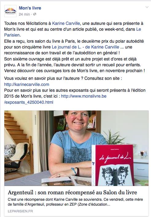Mon's livre parle de Karine Carville